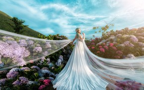 Picture summer, the sky, girl, clouds, light, flowers, nature, pose, blue, background, white, blue, garden, slope, …