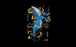 Picture Fantasy, Art, Vector, Background, Illustration, Minimalism, Animal, Whale, Angga Tantama, Mammals