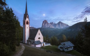 Picture landscape, mountains, nature, the moon, morning, Italy, Church, forest, paths, The Dolomites, Val Gardena, St. …