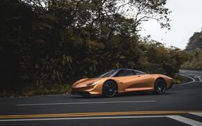 Picture McLaren, road, Gold, Speedtail