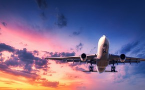 Picture the sun, clouds, sunset, flight, the plane, flies, in the sky, passenger