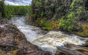 Picture forest, clouds, trees, river, stones, overcast, for, Russia, Karelia, Suna River