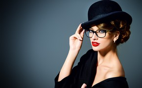 Picture girl, style, hat, makeup, glasses