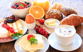 Picture egg, coffee, orange, Breakfast, cheese, strawberry, juice, grapes, cakes, buns
