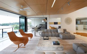 Picture space, interior, kitchen, living room, dining room, Norman Park Penthouse, by D'Cruz Design Group