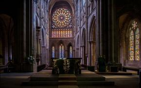 Picture France, interior, France, Altar, Saint-Malo, Cathedral, Cathedral Saint-Vincent, Saint-Malo Cathedral, Cathedral St-Vincent