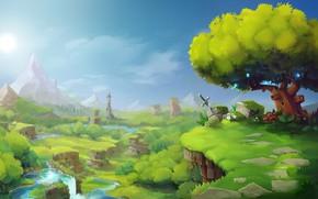 Picture greens, the sky, landscape, landscape, Hytale