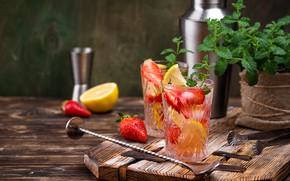 Picture berries, strawberry, drink, mint, lemons, lemonade, Yuliya Furman