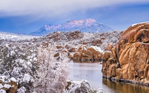 Picture snow, mountains, rocks, AZ, USA, Granite Dells