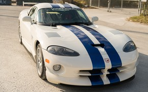 Picture White, Dodge Viper, Sports car, GTSR, Blue stripes