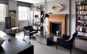 Picture interior, chairs, fireplace, living room, dining room, Eaton Square Apartment, by Paul Craig