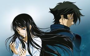 Picture girl, anime, art, guy, Mobile Suit Gundam