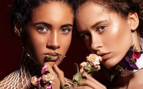 Picture girl, eyes, smile, flowers, beautiful, model, pretty, beauty, lips, face, hair, pose, cute, makeup