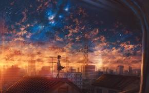 Picture roof, sunset, schoolgirl, Starfall