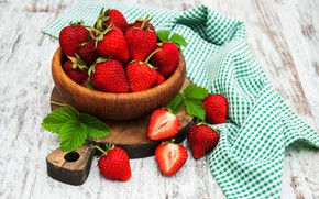 Picture berries, table, bowl, strawberry, cutting Board, Olena Rudo