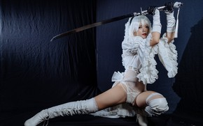 Picture look, girl, face, pose, style, sword, cosplay