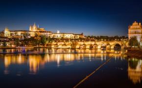 Wallpaper bridge, reflection, river, Prague, Czech Republic, night city, Prague, Charles bridge, Czech Republic, Charles Bridge, ...