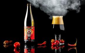 Picture glass, bottle, pepper, still life, brand, hot pepper, paprika