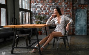 Picture sexy, pose, table, model, skirt, portrait, makeup, figure, brunette, hairstyle, shoes, blouse, legs, sitting, in …