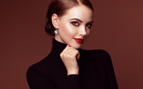 Picture look, girl, pose, photo, portrait, earrings, makeup, beautiful, Oleg Gekman