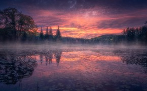 Picture forest, fog, lake, reflection, sunrise, dawn, morning, Canada, Ontario, Canada, Ontario