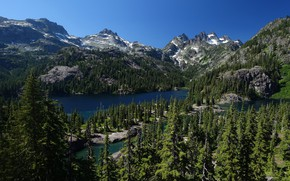 Picture trees, mountains, lake, ate, The cascade mountains, Mount Baker-Snoqualmie National Forest, Washington State, Cascade Range, …