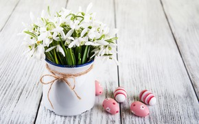 Picture flowers, eggs, colorful, snowdrops, Easter, happy, wood, blossom, flowers, spring, Easter, eggs, decoration, snowdrops