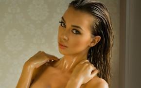 Picture Angela, wet, cleavage, eyes, bath, model, photodromm, hair, brunette, Jackie, mouth, makeup, lipstick, Nicolette, Angelika …