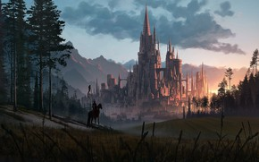 Picture forest, mountains, castle, warrior, Great castle