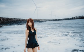 Picture girl, rock, beach, sea, woman, beautiful, model, pretty, asian, swimsuit, oriental, asiatic, thigh, oppai, sugoi, …