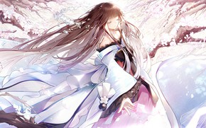 Picture the wind, girl, neckline, bow, long hair, ruffles, closed eyes, the cherry blossoms, Antoneva, by …