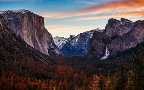 Picture autumn, forest, the sky, clouds, trees, sunset, mountains, rocks, waterfall, CA, panorama, USA, Yosemite, Yosemite …