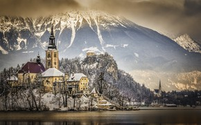Picture winter, mountains, lake, Slovenia, Lake Bled