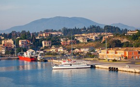 Picture the sun, trees, landscape, mountains, home, ships, Greece, Bay, piers, Corfu
