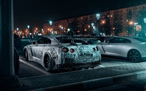 Picture Auto, Night, Machine, Tuning, Nissan, GT-R, Parking, Moscow, Nissan GT-R, Sports car, Tattooed, Mikhail Sharov, …