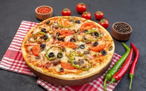 Picture pepper, pizza, tomatoes, tomatoes, napkin