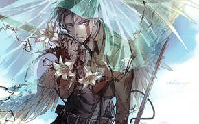 Picture Angel, art, Blood, Weapons, Shingeki no Kyojin, Lily, Attack of the titans, Levi Ackerman, Corporal …