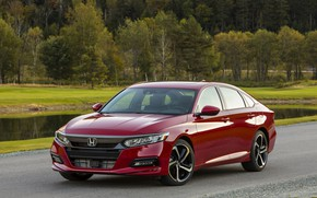 Picture water, trees, red, Honda, Accord, sedan, 2018, four-door, 2.0T Sport