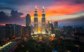 Picture the sky, clouds, the city, lights, dawn, building, morning, tower, Malaysia, Kuala Lumpur