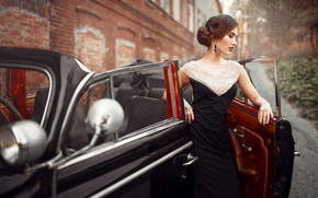 Picture auto, look, girl, pose, retro, earrings, figure, dress, hairstyle, bokeh, Maks Kuzin