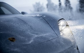 Picture light, snow, grey, Porsche, the hood, 2020, Taycan, Taycan 4S