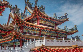 Picture temple, architecture, Malaysia, Kuala Lumpur, Malaysia, Thean Hou Temple, Kuala Lumpur, The Temple Of Tien …