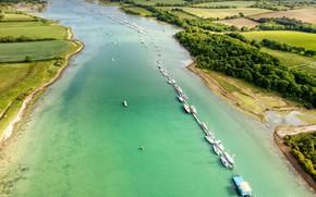 Picture river, island, England, Medina, White