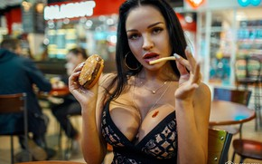 Picture girl, photo, photographer, model, brunette, hamburger, portrait, Dmitry Filatoff, Dmitry Filatov