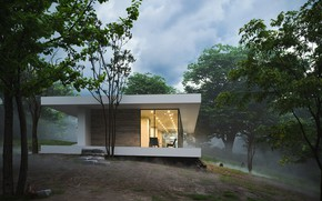 Picture forest, the sky, slope, structure, FOREST HOUSE