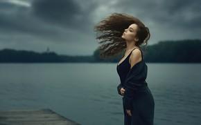 Picture look, girl, pose, lake, hair, pierce, beautiful, Jiri Zapletal