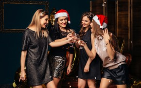 Picture joy, girls, mood, holiday, bottle, glasses, Christmas, New year, smile, fun, Shampanskoe