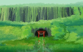 Picture greens, water, torii, abandoned