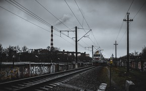 Picture rain, cloud, train, Krasnodar, krasnodar, darkart