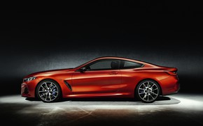 Picture orange, background, coupe, BMW, profile, Coupe, 2018, 8-Series, Eight, G15